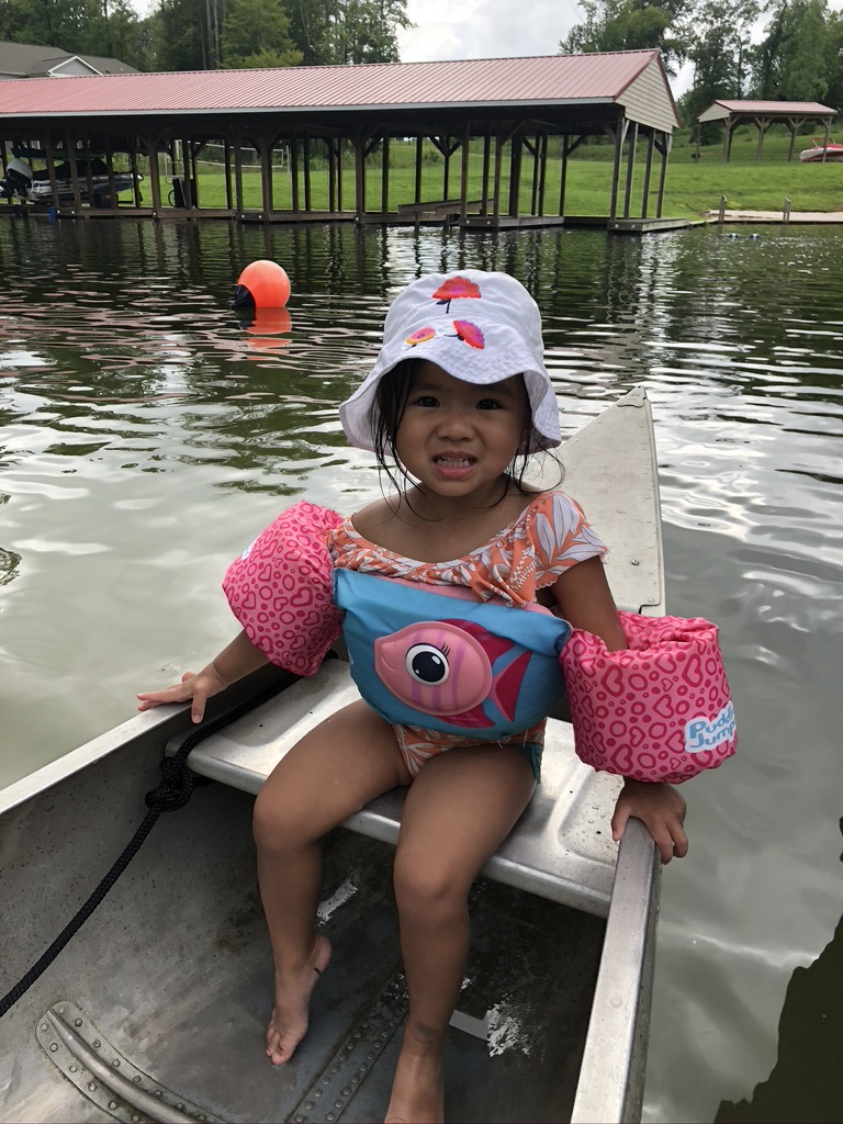 Avery's first time on a canoe